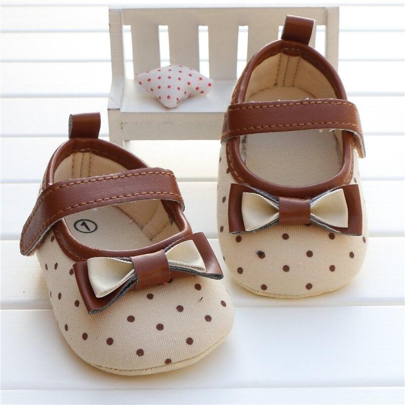 baba lány első walker cipő újszülött kisgyermek lány bowknot íj pöttyös puha talpos babakocsi cipő sapatos infantil calzado ninas