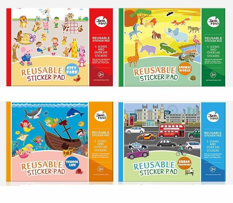 Mais de 145 PCs reutilizáveis adesivos livro com 5 cenas para crianças criança brinquedos clássicos, desenho adesivo de parede recados decoração de casa