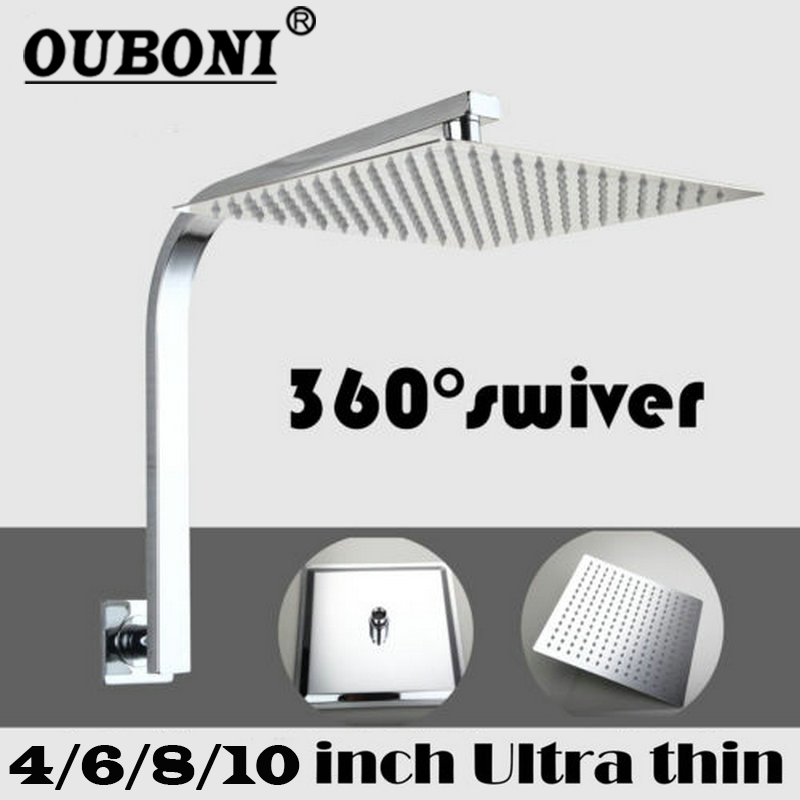 4 6 8 10 inch Bathroom Wall Mounted Square Rainfall Stainless Steel Shower Head Mixer Chrome Finish Sprayer Tap With Shower Arm free shipping wall mount 10 inch stainless steel rain shower head brass shower arm chrome finish