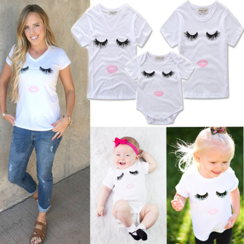 2018 Family Matching Tops Mother And Daughter Son Short Sleeve T-shirts Women Baby Matching Summer Shirts ...