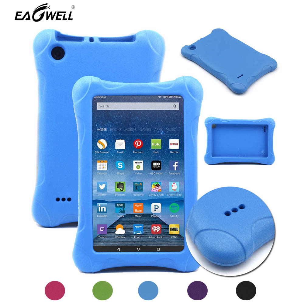 detailed look d4814 c1ef6 US $13.99 10% OFF|Kids Shockproof Case Cover For Amazon Kindle Fire 7 2015  2017 Children Thick Foam EVA Back Cover 7 inch Tablets Sleeve Case-in ...