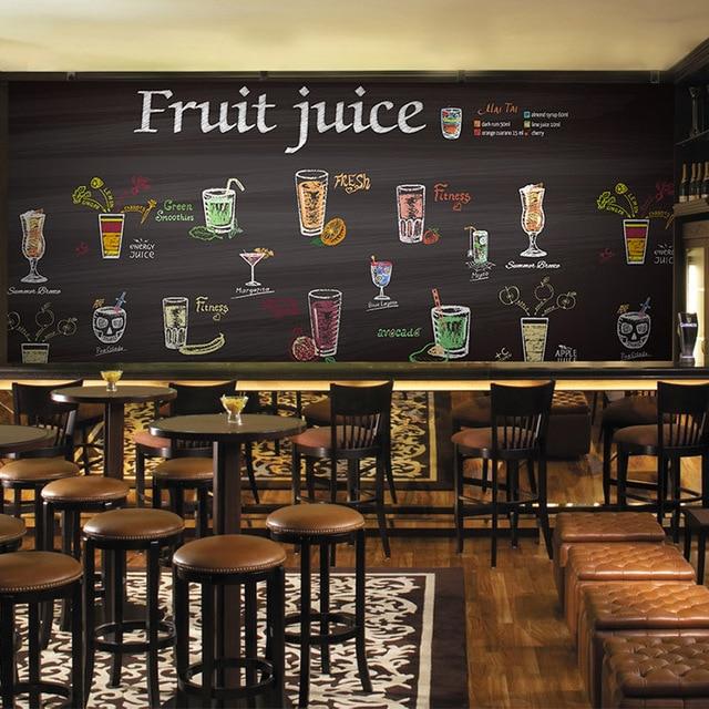3d Photo Wallpaper 3d Fruit Juice Drink Black Tea Bar