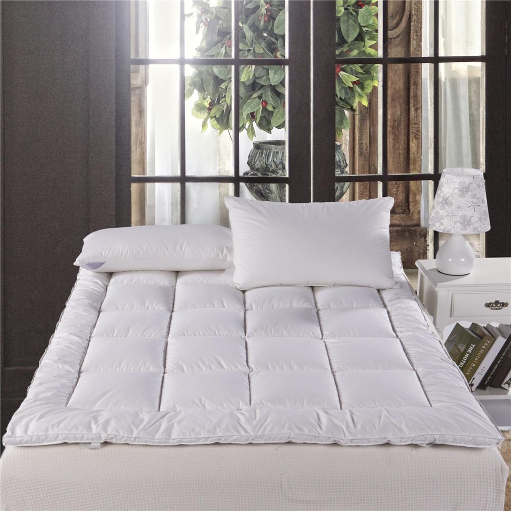 Белая защитная подушка для кровати, стеганый матрас, протектор для дома, отеля, наматрасники, утиный пух, тканый, Одноместный, Твин, полный, queen king size