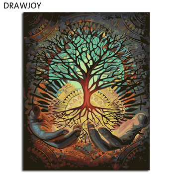 DRAWJOY Paisagem Emoldurado Pintura DIY By Numbers Pintura & Caligrafia Oi Pintura Digital DIY Por Números Casa Decoração