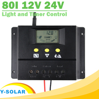 80A Solar System Controller 12V 24V LCD PWM PV Charger With Max 50V 1920W Solar Panel Light and Timer Control Y-SOLAR 80I