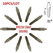 XNRKEY  (10 pcs/lot)Metal Blank Uncut Flip KD Remote HU46 Key Blade Type #43 for Opel