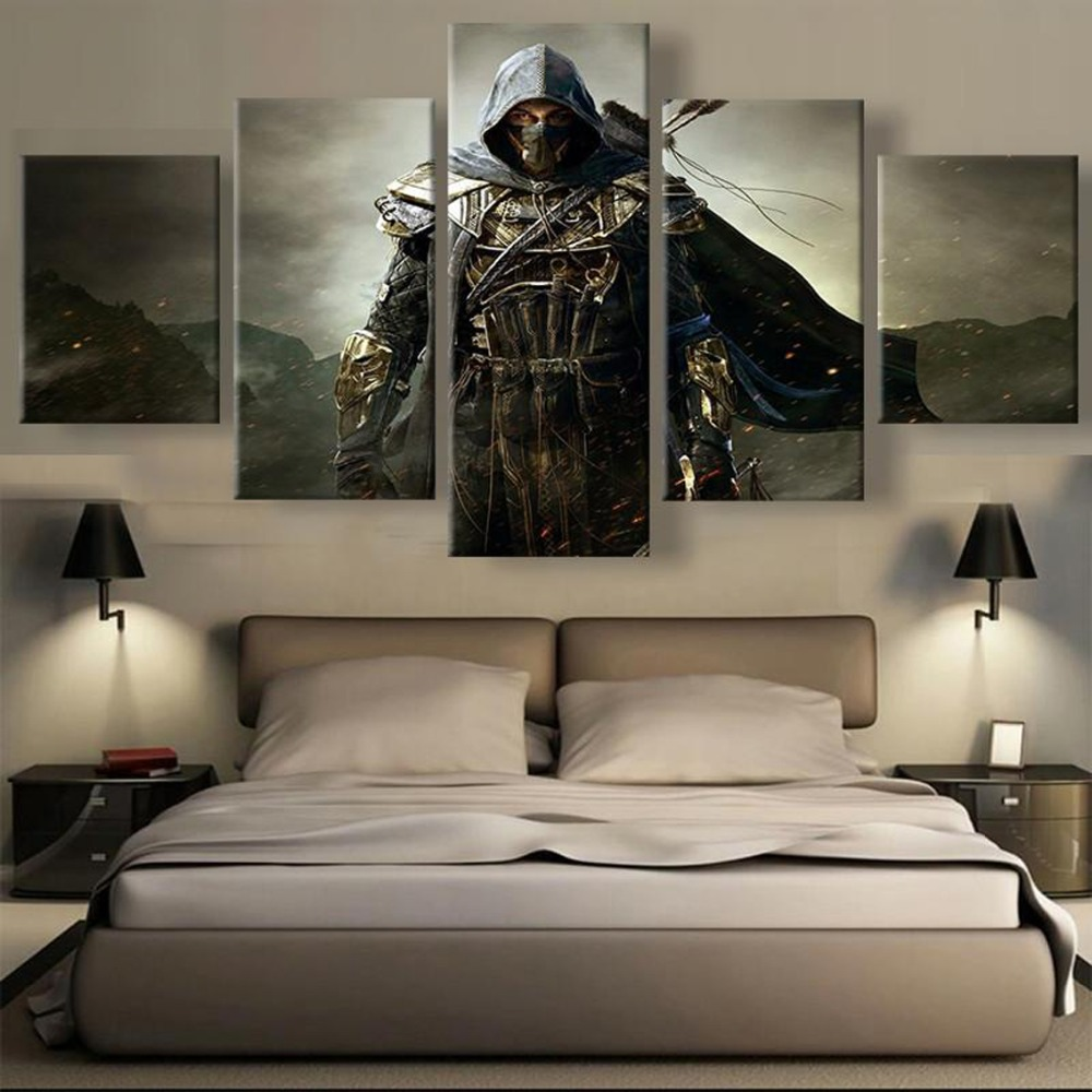5 Piece HD Printed Elder Scrolls Game Modern Decorative Paintings on Canvas Wall Art for Home Decorations Wall Decor Artwork image
