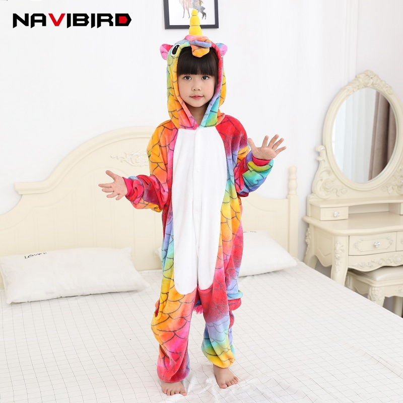 Girls Kigurumi Autumn 2018 New Red Unicorn Costume Kids Flannel Hooded Unicorn Party Anime Cosplay Unicornio Pajama Home Overall