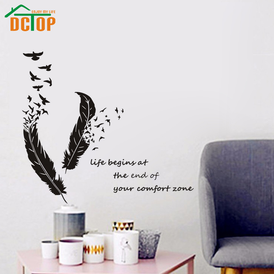 Life begins at the end of your comfort zone quotes sticker life begins at the end of your comfort zone quotes sticker feathers and birds wall stickers art vinyl decal home decor in wall stickers from home garden amipublicfo Gallery