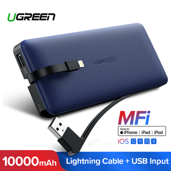 Ugreen Power Bank 10000 mAh para iPhone X 7 Xiaomi batería externa Powerbank para USB iPhone Cable cargador portátil poverbank