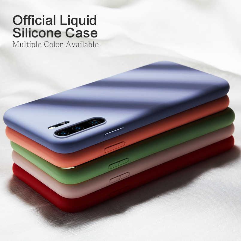 Original caso de silicone líquido para huawei p20 p30 lite y9 2019 capa clara clara pára-choques para huawei p20 p30 pro fundas coque capa