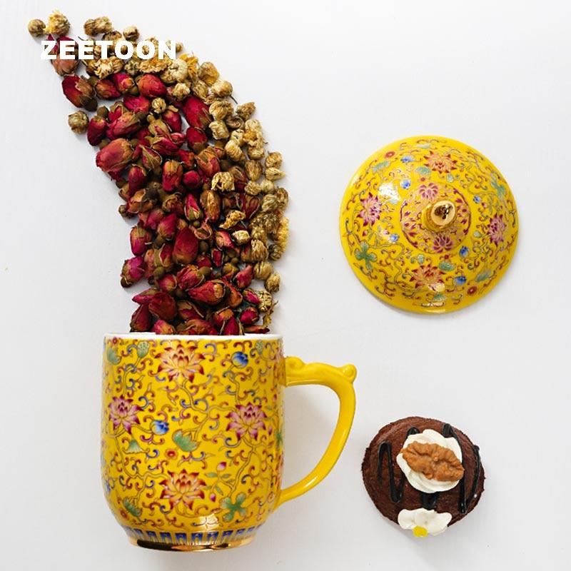 320ml Chinese Palace Style Qianlong Vintage Color Enamel Porcelain Tea Cup Teacup Coffee Milk Mug with Lid Creative Home Decor