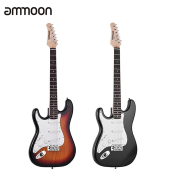 ammoon Electric Guitar Solid Wood Paulownia Body Maple Neck 21 Frets 6 String with Speaker Pitch Pipe Guitar Bag Strap Picks