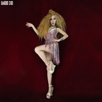 Colorful tassel sequins mesh conjoined body party nightclub bar concert DJ singer/dancer costumes