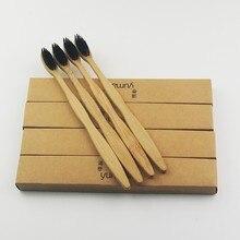 200 шт. черный бамбук Зубная щётка дерево Зубная щётка Новинка бамбука мягкой щетиной головчатого бамбуковое волокно деревянной ручкой