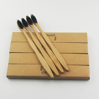 200 Pieces Black 100% Bamboo Toothbrush Wood toothbrush Novelty Bamboo soft-bristle Capitellum Bamboo Fibre Wooden Handle фото