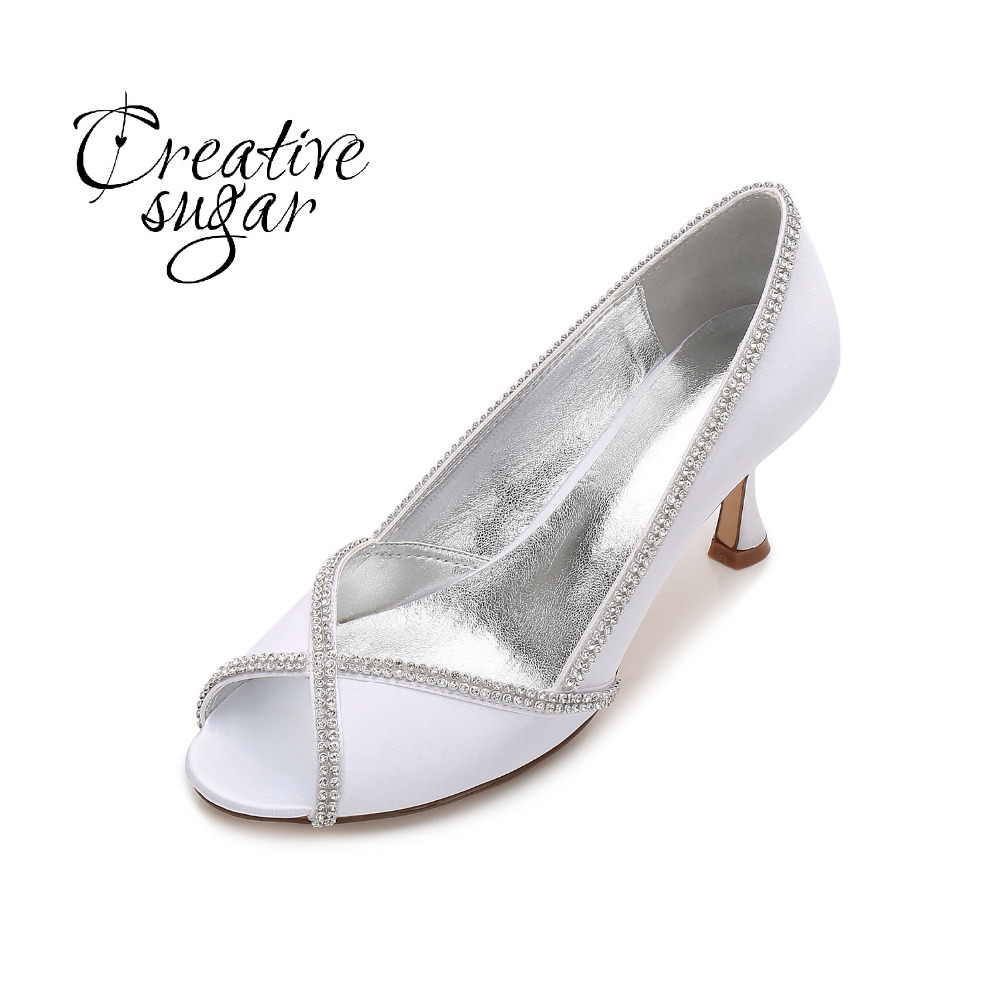 Creativesugar women satin evening dress shoes open peep toe rhinestone fringe bridal wedding party prom heels cocktail pumps round toe satin white wedding shoes rose bridal dress shoes party prom dress shoes for ladies