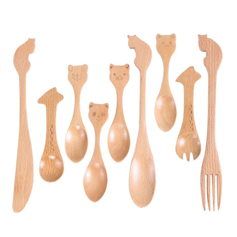 Children Kids Wooden Catoon Tableware Spoon Fork Knife Eating Natural Tool Cute Cat Dog Giraffe Panda Pig Animal