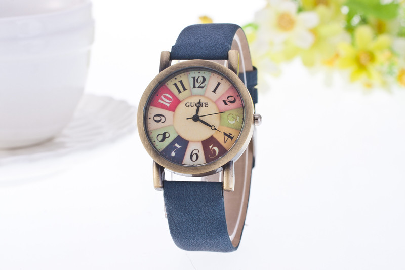 Reloj Mujer GUOTE Vintage Casual Quartz Watch Women Leather Strap Dress Watches Relogio Feminino Rainbow Color