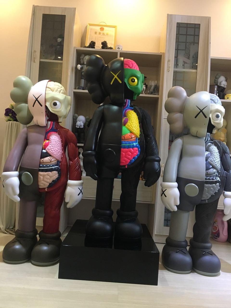 [Nuevo] Original fake KAWS 130 cm 4ft kaws dissected 1:1 colección figuras de acción juguete modelo Original decoración del hogar regalo