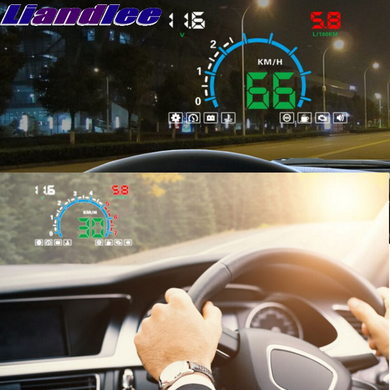 Liandlee HUD For Nissan Cube Cefiro Maxima Cima NP300 Frontier Fiera Speedometer OBD2 Head Up Display Big Monitor Racing HUD