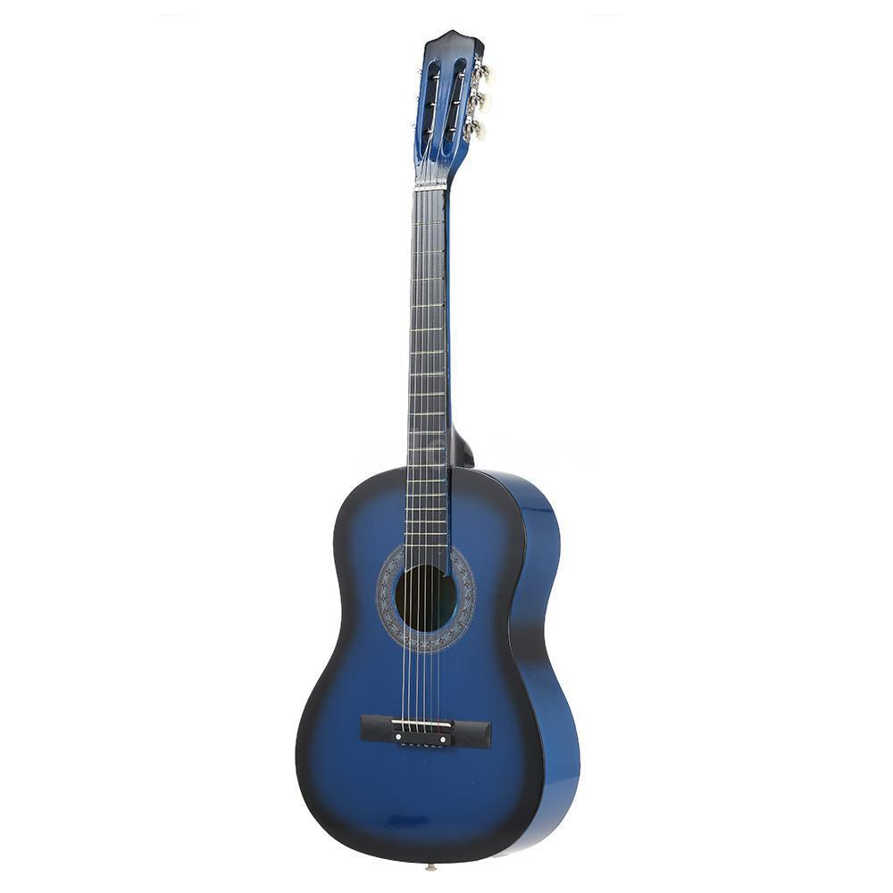 38 6 String Acoustic Round Guitar Lightweight for Beginners Kids Color:Blue