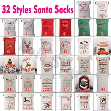 32 Styles Christmas Gift 2018 Santa Sacks 1pc font b Drawstring b font Canvas Santa Sack
