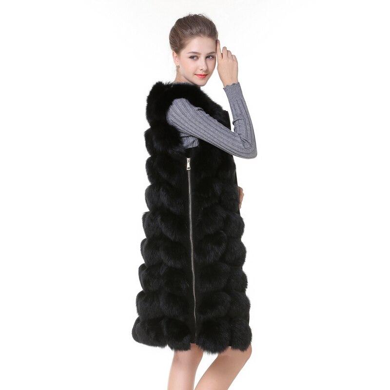 Real Fox Fur Vest Fur Vest With Side Zipper Black Winter Coat Waistcoat Fox Fur Female Genuine Fox Fur Jackets Ship by DHL