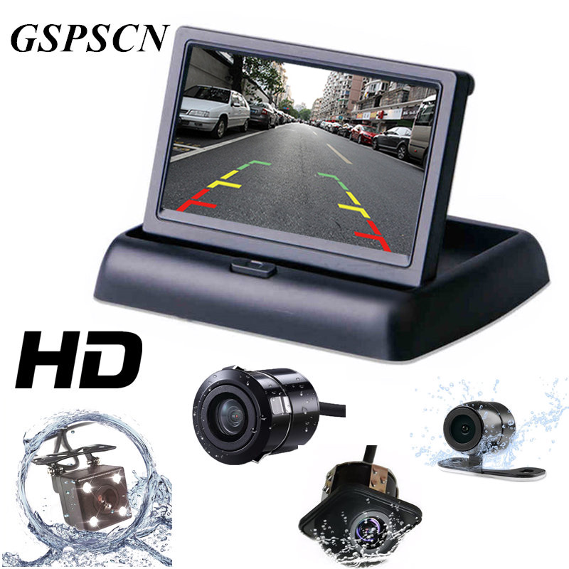 2 in 1 Parking Assist 4.3 inch Folding Car in-Dash Monitor Video Player with Night Vision Waterproof Rear View Back Up Camera for ford escape maverick mariner car parking sensors rear view back up camera 2 in 1 visual alarm parking system