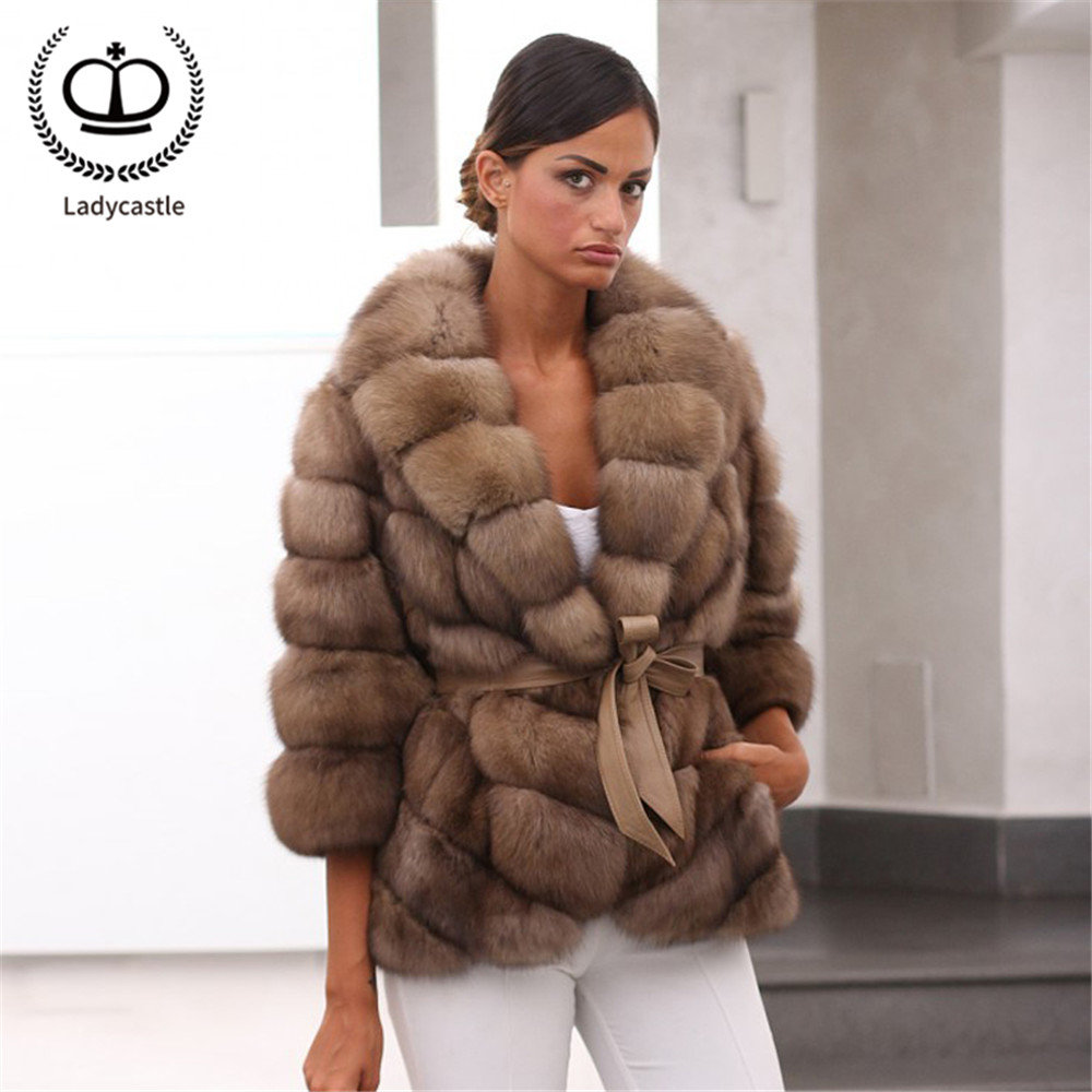 2019 New Real Fur Coat Women Winter Fashion Natural Full Pelt Genuine Fur Jacket With Turn-down Collar Luxury Overcoat FC-268