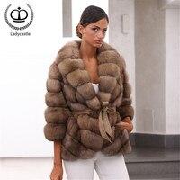 2019 New Real Fur Coat Women Winter Fashion Natural Full Pelt Genuine Fur Jacket With Turn down Collar Luxury Overcoat FC 268
