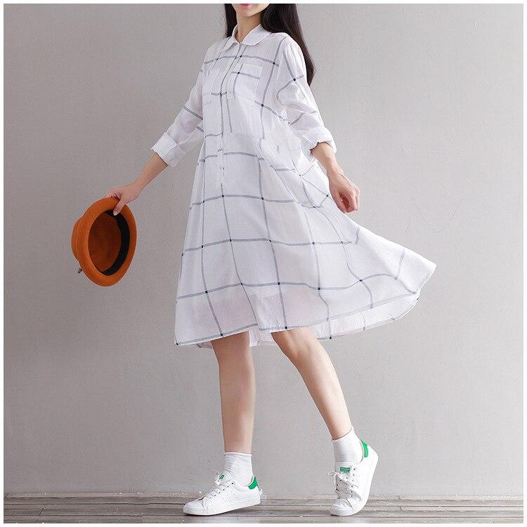 2016 Vintage Autumn Sweet Women Midi Dress Turn-Down Collar Long Sleeve Loose Female Robe Cotton Linen Mori Girl Casual Dresses