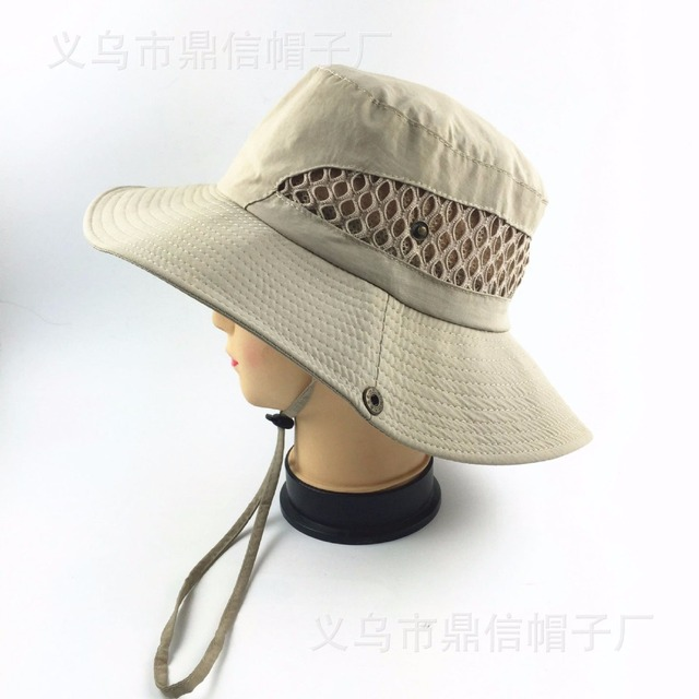 967f123943d New Wide Brim Bucket Hats Sunscreen Vent Mesh boonie Hats Double Layer  Fisherman Breathe Caps UV Protection Hats for Fishing