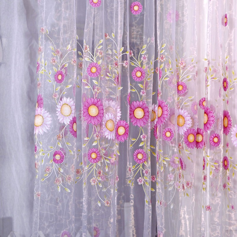 1 pc Home Decoration Curtain Sunflower Design Modern Fabrics Organza Sheer Panel Window For Living Room Decor VBN25 P15