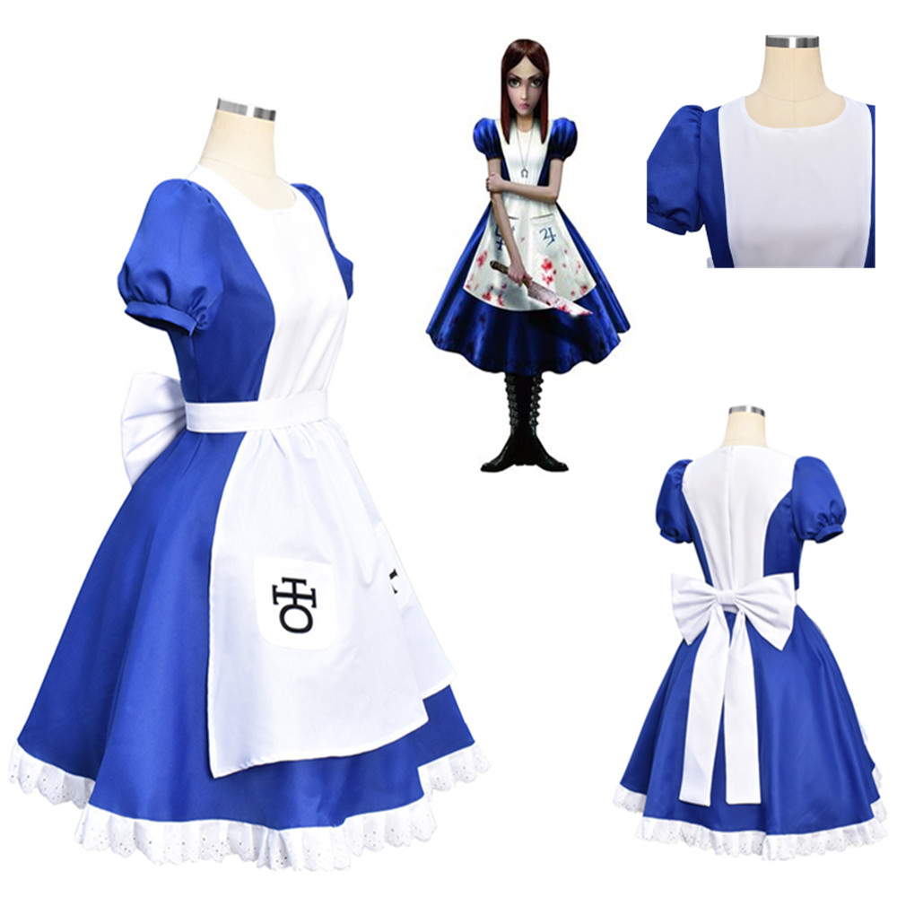 Game Alice Madness Returns Cosplay Costume Halloween Costumes Maid Dresses Apron Dress For Women Girls maid outfit apron dress