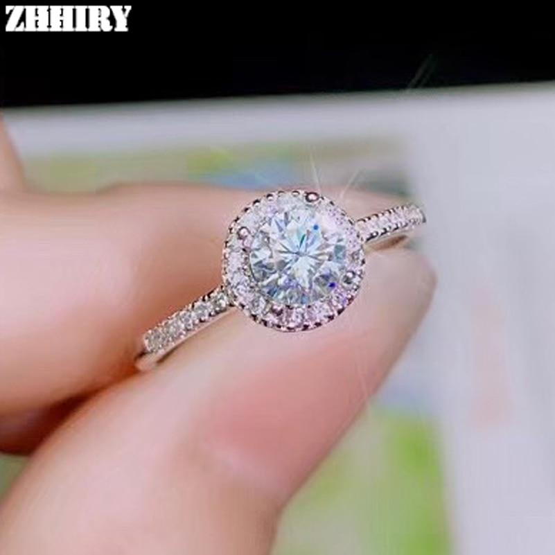 ZHHIRY véritable Moissanite 925 bague en argent Sterling pour femmes anneaux 0.5ct 5mm D VVS1 coupe ronde avec certificat bijoux fins