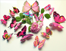Fast Shipping 8 Colors 12pcs 6 big+ Small PVC 3d Butterfly Tatoos Wall Sticker Home Decoration Decals-DY
