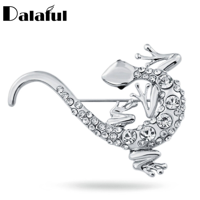 Cute Lizards Gecko Crystal Animal Brooches Pins Brooch for Women Z006