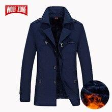 2018 מותג עסקי מזדמן ארוך סעיף חורף מעיל גברים תעלת מעיל אופנה מעיל רוח Mens מעיל חום בתוספת גודל M 5XL