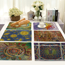 European and American National Wind Sun Moon Print Rectangular Placemat Western Cotton Linen Art Food Mat Bowl Coaster 1pcs