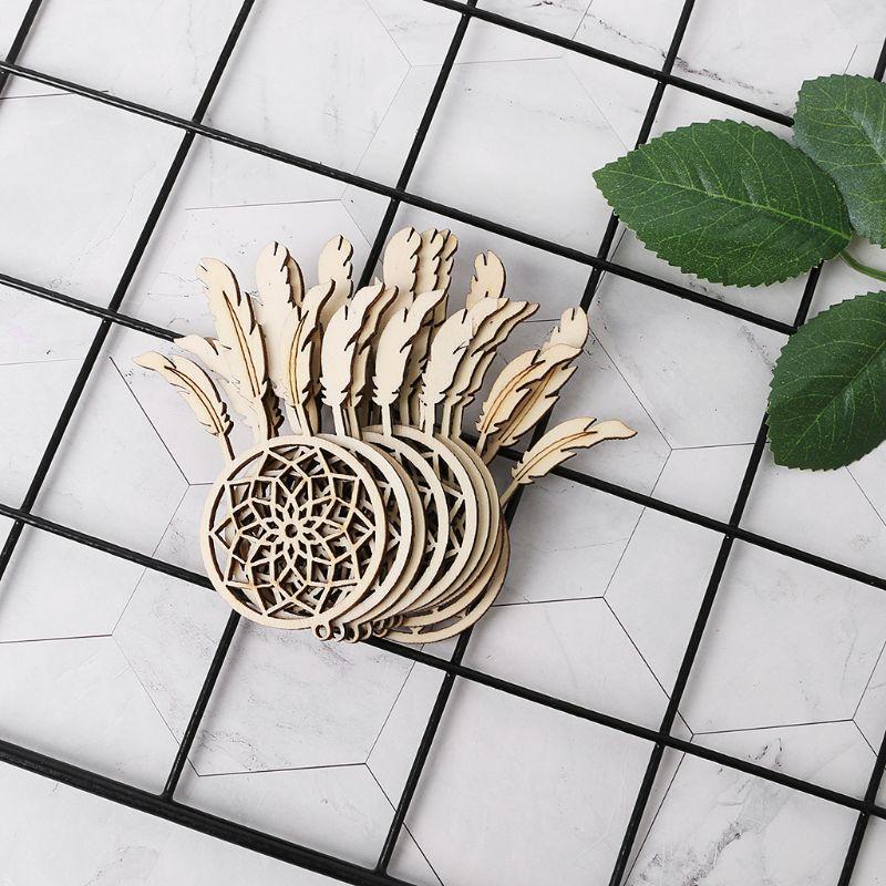 10pcs Laser Cut Wood Dreamcatcher Embellishment Wooden Shape Craft Wedding Decor