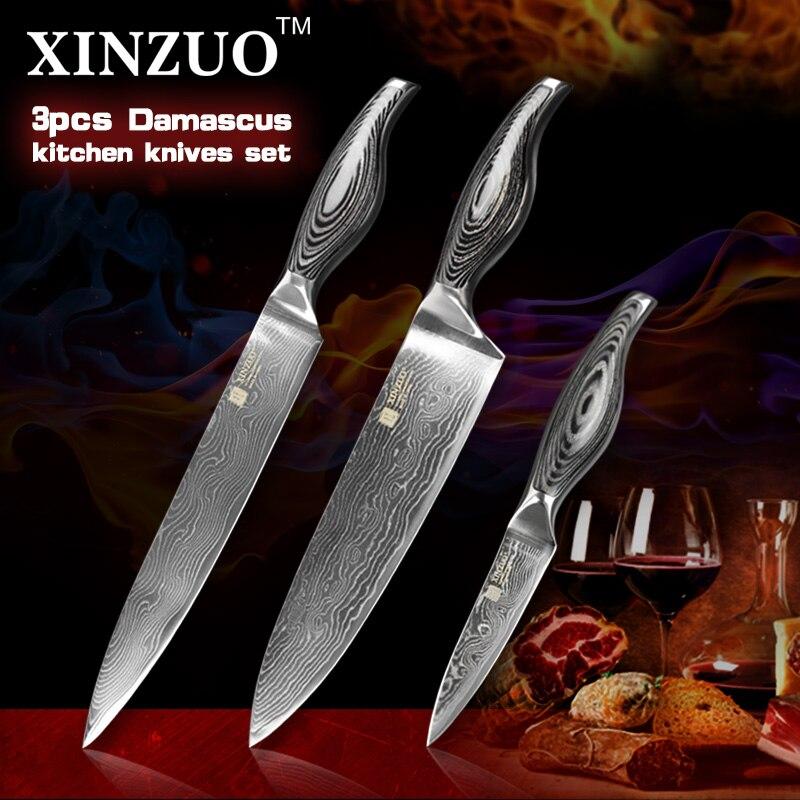 3 pcs chef font b knife b font set Japanese 73 layer VG10 Damascus steel kitchen