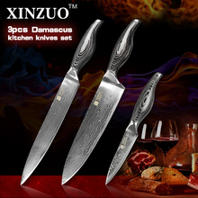3 pcs chef knife set Japanese 73 layer VG10 Damascus steel kitchen knife set paring chef cleaver knife wood handle free shipping