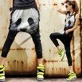 2015 плюс размер женщин шаровары мультфильм панда печати мешковатые свободные брюки palazzo брюки промежности брюки хип-хоп шаровары