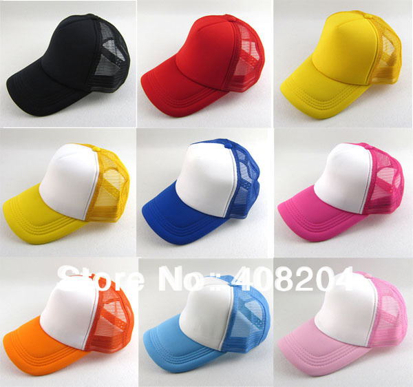 wholesale 12colors  Mesh / Plain / Blank / Trucker / baseball hat cap 5pcs/lot