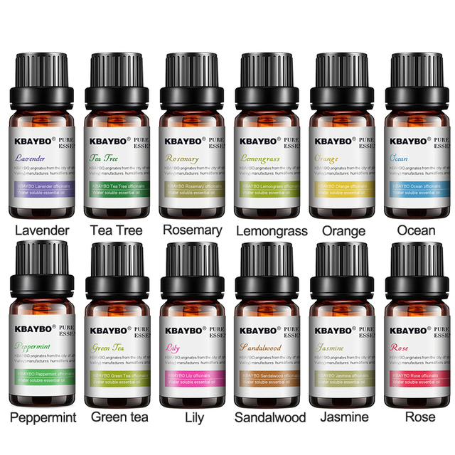 KBAYBO Essential Oils for aroma diffuser air Humidifier Aromatherapy Water-soluble Oil 12 Kinds of Fragrance Jasmine Lavender