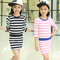 Girl Dress 100%Cotton Striped Color Contrast Long Sleeve Mini Girls Dresses Summer 2016 Robe Fille Enfant Roupas Infantis Menina