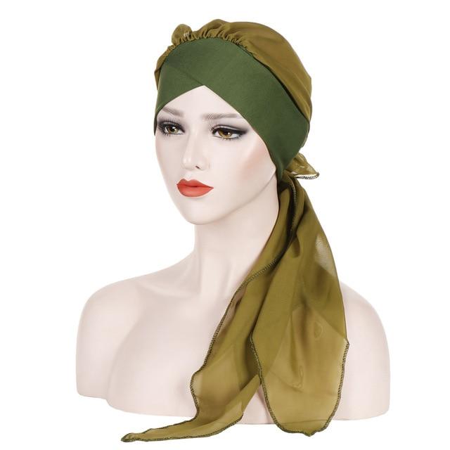 Helisopus Solid Color Pre Tied Arab Indian Turban Muslim Headwear Women Chiffon Hijab Cap Bandanas Headscarf Hair Accessories