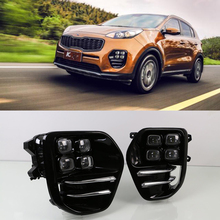 1Set DRL For Kia Sportage KX5 2016 2017 2018 Auto Car led Daytime Running Lights white color DRL Waterproof driving Fog lamp