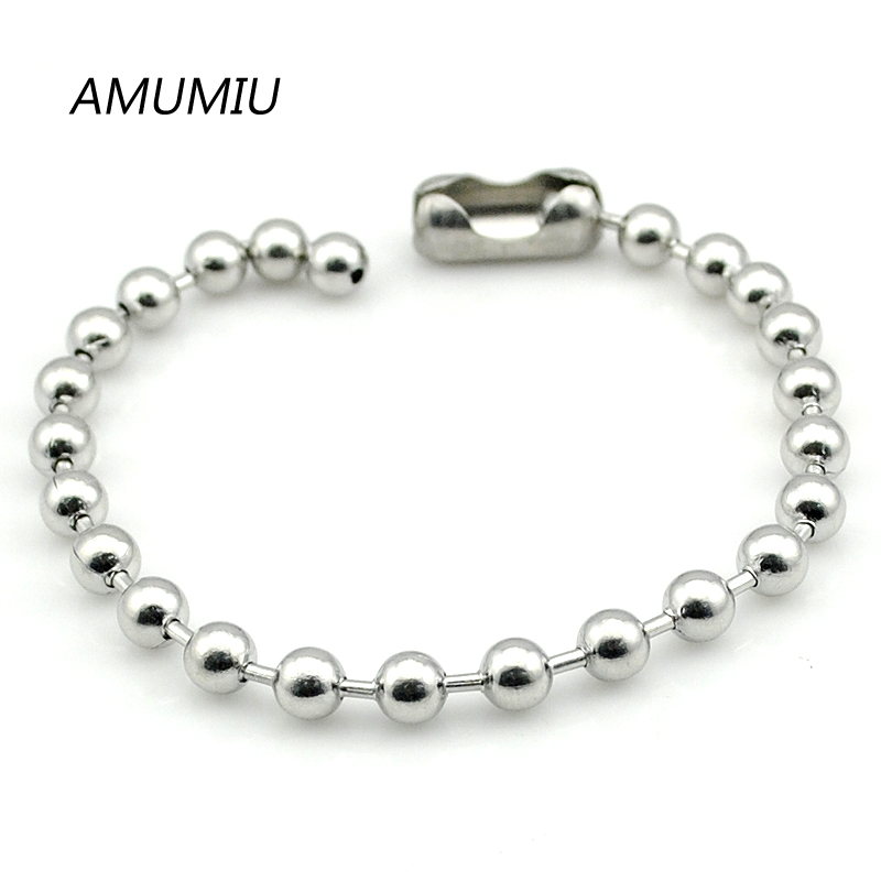 AMUMIU 2021 Biker Stainless Steel 6mm Beads Bracelets Jewelry Body Hand Chain Wholesale HZB059
